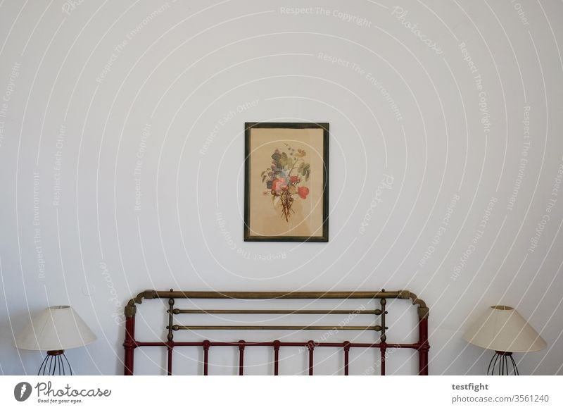 hotel room Hotel Hotel room Bed lamps Wall (building) Image Art Drawing White Sparse chilly Minimalistic Bedstead