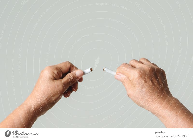 Quit smoking, no tobacco day, mother hands breaking the cigarette addict adult aged anti background bad broken care caucasian close up concept cutting danger