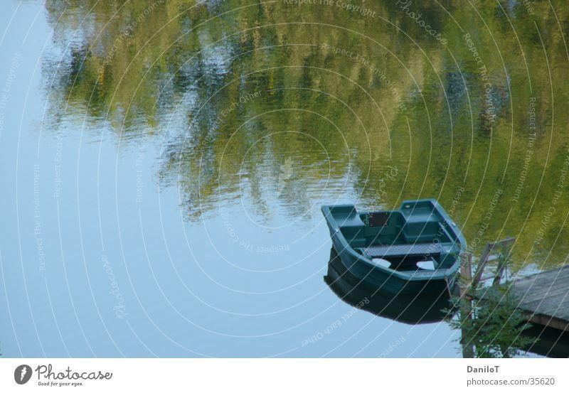 water mirroring Reflection Tree Watercraft Footbridge Calm