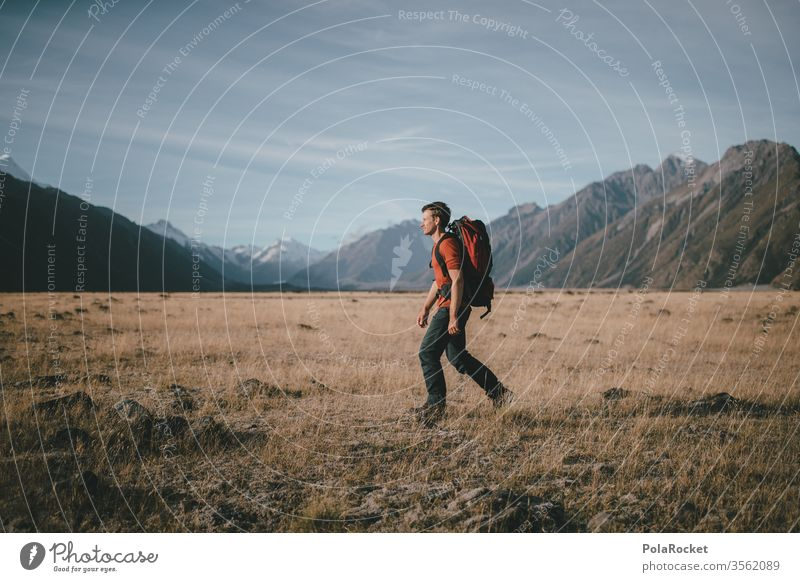 #aS# Walker Grass Straw backpacker Hiking Destination time-out Freedom Young man Mount Cook Class outing hike travelers Tall Backpacking Backpacking vacation