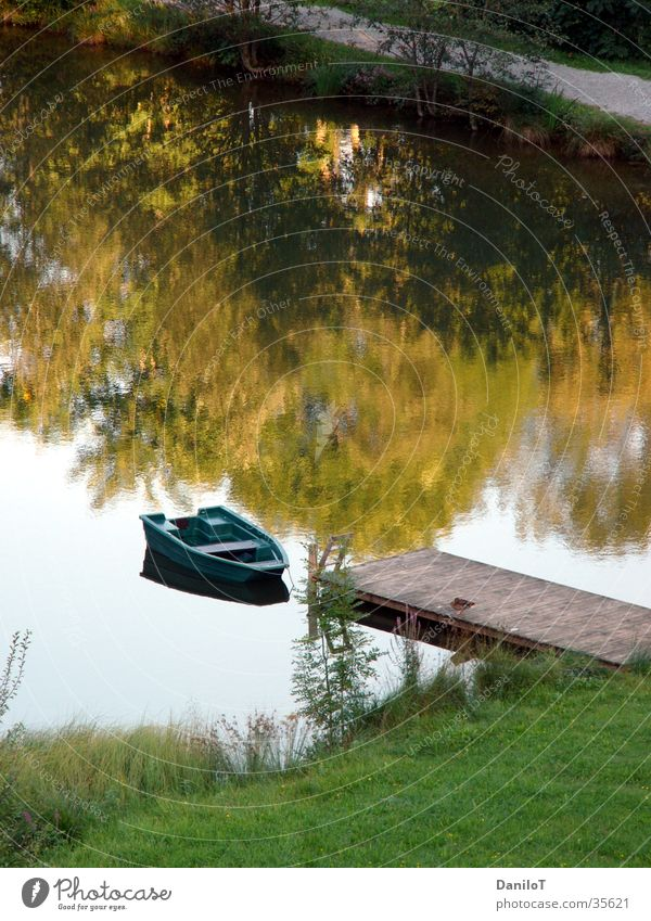 wonderful silence Watercraft Pond Lake Footbridge Calm Reflection Duck