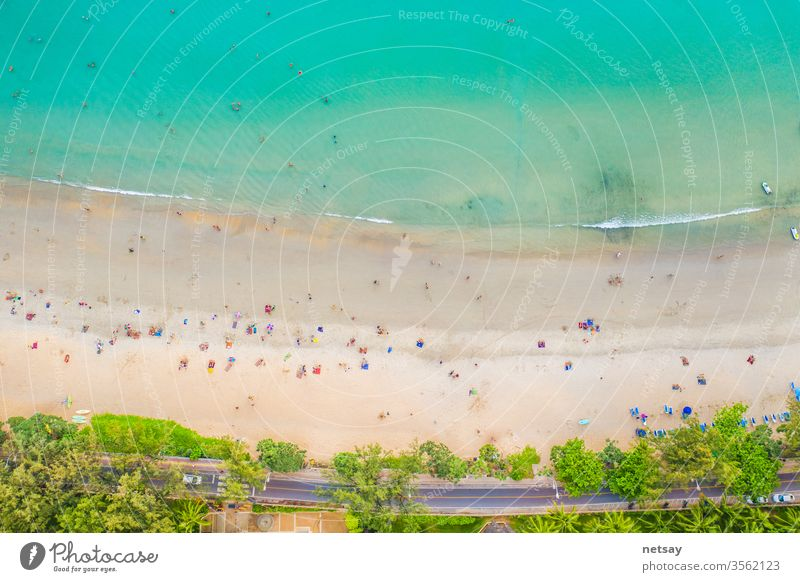 Kata  beach, Paradise beach with golden sand, crystal water and palm trees, Patong area on Phuket Island, Tropical travel destination, Thailand. Aerial Green