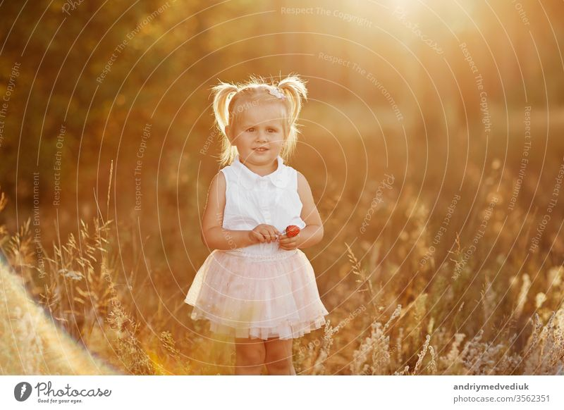 little girl with two tails. nice little baby in a pink skirt. The girl walks in the park at sunset child portrait spring summer serious cute sad kid beautiful