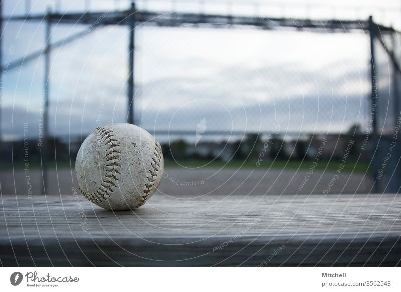 Close up of a Baseball with a Baseball Diamond in the Background baseball Sports Human being Ball sports Athletic Leisure and hobbies Exterior shot Fitness