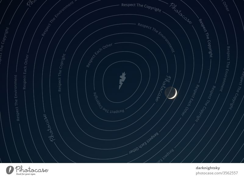 Moon sickle late evening pretence crescent moon Sky Night conceit Blue Moonlight Celestial bodies and the universe Universe Crescent moon silent tranquillity
