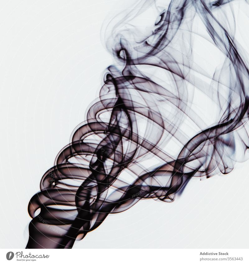 Abstract backdrop with stains of black incense smoke colorful swirl abstract whiff steam background aroma scent vortex fragrant shape fume curve diffuse fog