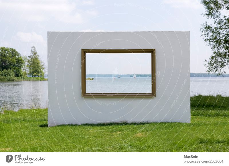 View to the sea outlook Picture frame Window Wall (barrier) Lake Schwerin Schwerin Lake District Mecklenburg-Western Pomerania Wall (building)
