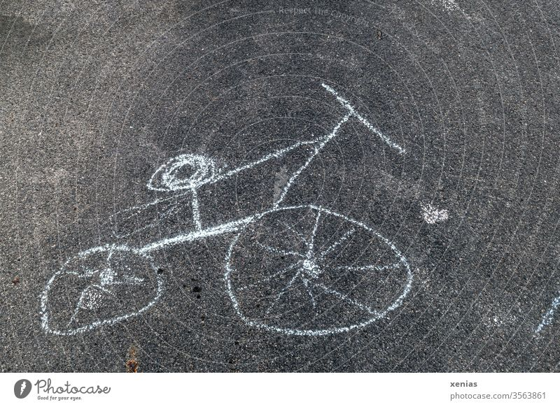 Bicycle was painted with chalk on the asphalt, including back damage when used Wheel Drawing Chalk drawing Street Asphalt Black White Warped Children's drawing