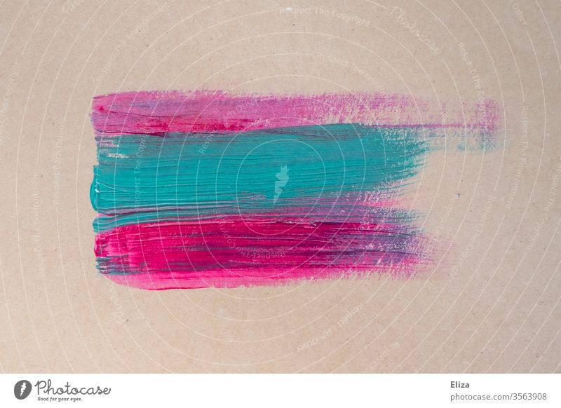 Pink and light blue brush strokes on a beige background. Painting. Creativity. Brush strokes Blue Colour Acrylic paint painting Art Painting (action, artwork)