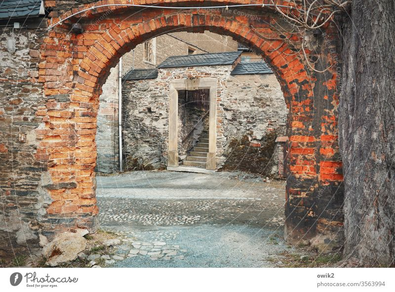 back door Goal Brick arched gateways bows Drive through Stairs staircase Passage Wall (barrier) Old Historic greiz Thuringia Lock castle courtyard Vista