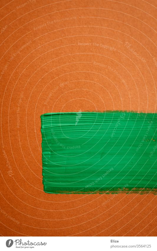 Brush strokes with green paint on brown background Pin dashes Colour surface Brown graphically Graphic Abstract Artistic Text box Eye-catcher painting