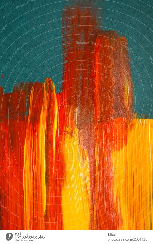 Yellow and red brush strokes of acrylic paint on blue background flat graphically Brush strokes Colour Blue Fire Abstract warm Orange Mixed Acrylic paint