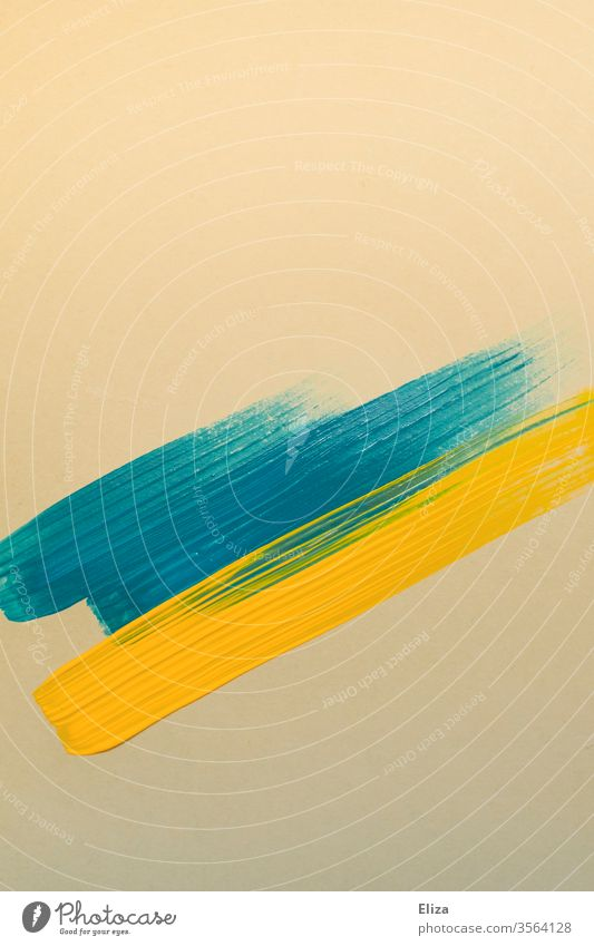 blue and yellow brush strokes on beige paper Brush strokes graphically shape Colour Art painting Graphic Blue Yellow Beige Abstract Structures and shapes Stripe