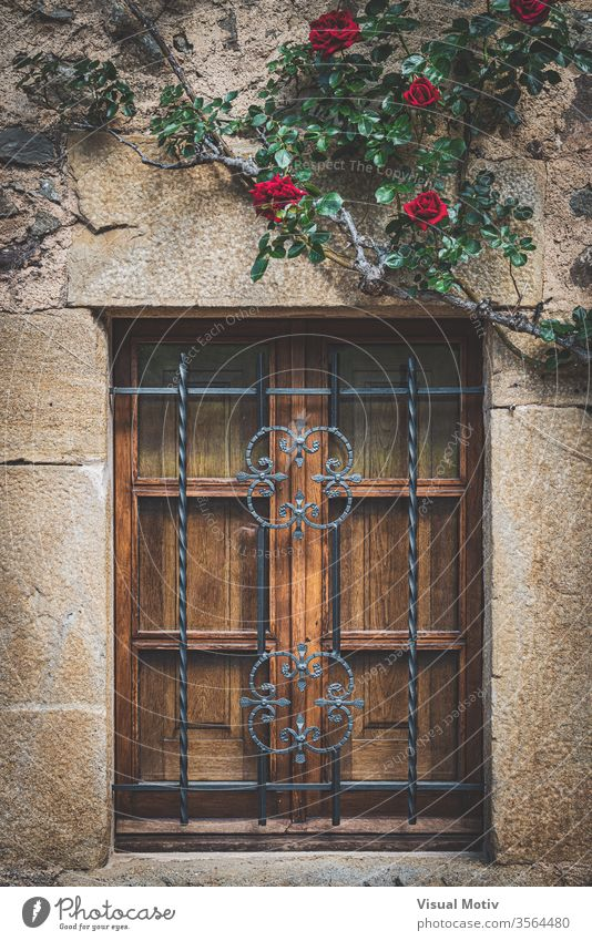 Facade of a mediterranean traditional house with a wooden latticed window and red climbing roses color architecture architectural architectonic botanic