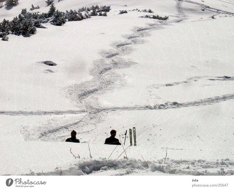 Vacation & Travel White Winter Snow Sports Sit Beautiful weather Break Skiing Tracks Snow layer Ski tour Deep snow Wavy line
