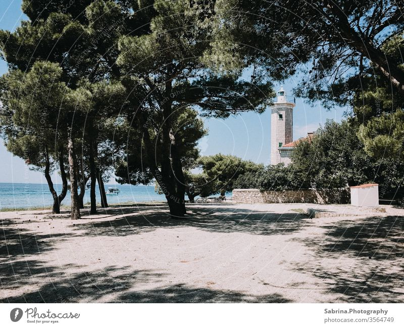 Disused lighthouse, which is now a hotel, on a beach on the island of Vìr, Croatia Lighthouse Hotel Island Beach Stone pine Europe Ocean Coast Vacation & Travel