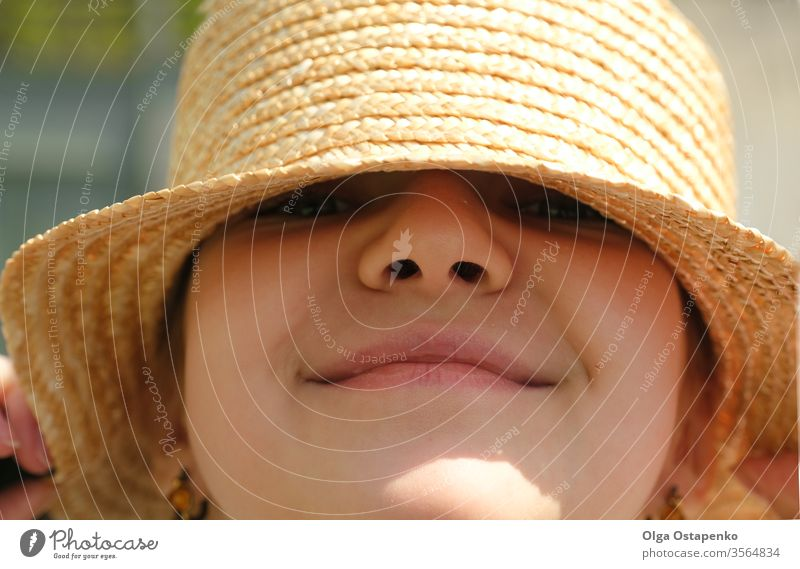 Gorgeous teenager girl in a straw hat smiling. Portrait. Close-up Summer travel. Sale portrait summer sale happy young pretty beautiful lifestyle attractive