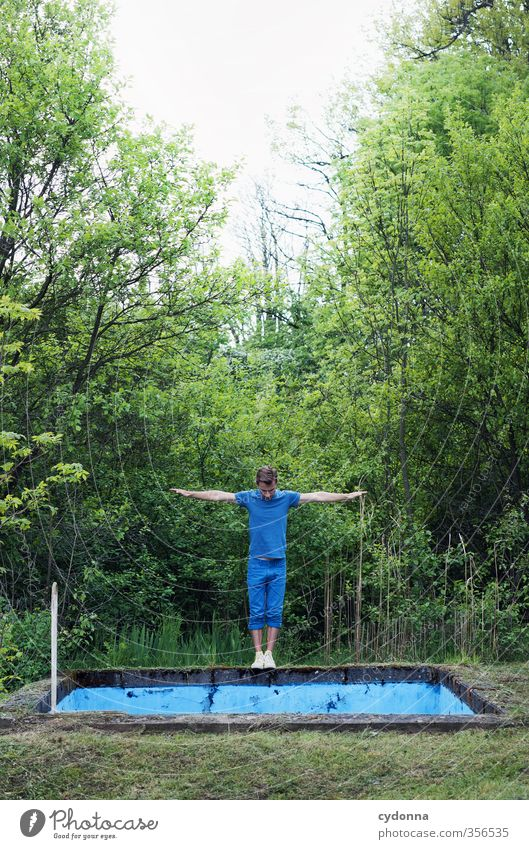 float Lifestyle Style Healthy Fitness Adventure Human being Young man Youth (Young adults) 18 - 30 years Adults Nature Summer Forest Uniqueness Resolve