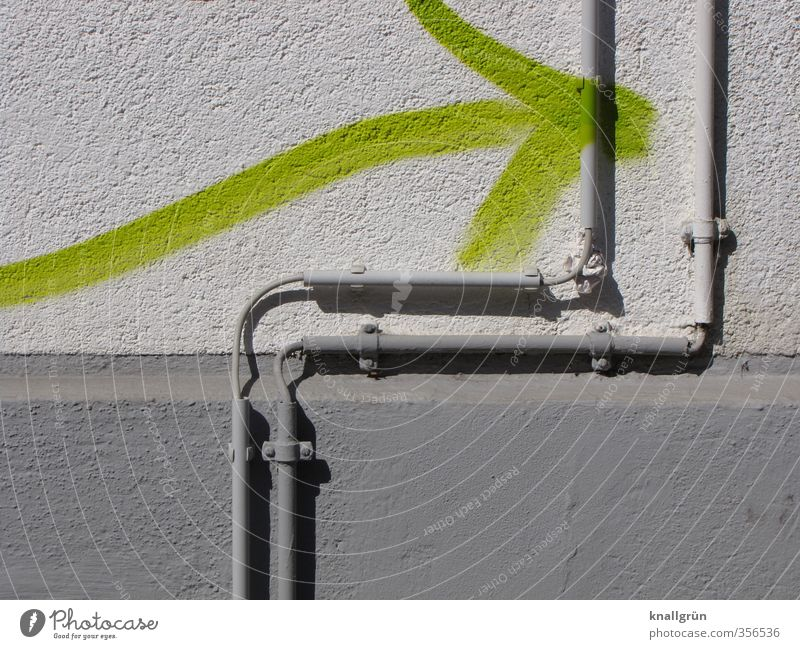 that way Wall (barrier) Wall (building) Facade Graffiti Arrow Town Gray Green Arrangement Protection Safety Living or residing Neon green Cable cable guide