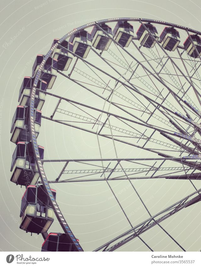 Ferris wheel Fairs & Carnivals Leisure and hobbies Joy Sky Rotate Colour photo Feasts & Celebrations Theme-park rides Day Deserted Exterior shot Copy Space top