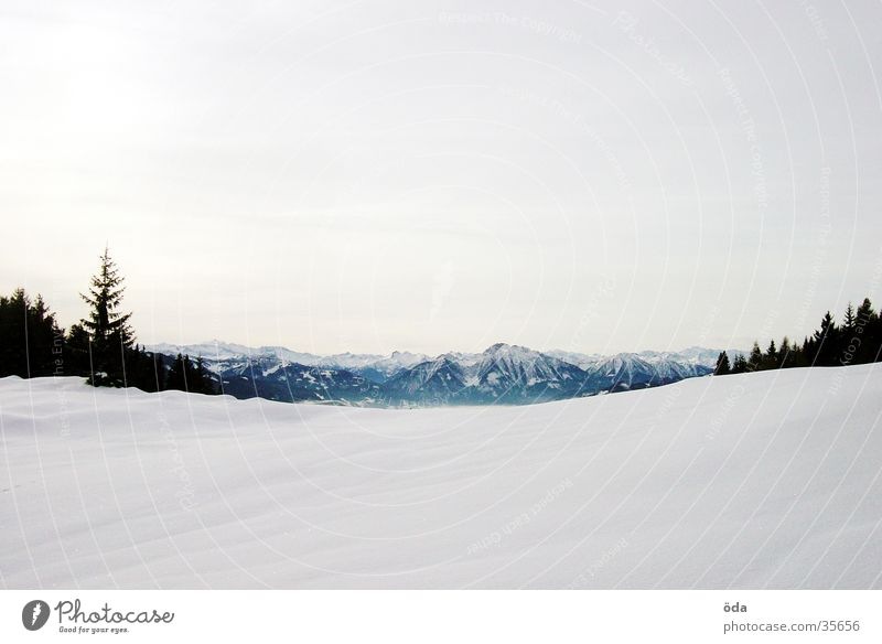 snowy mountains Panorama (View) Winter Cold Far-off places Vantage point Mountain Snow Perspective Large