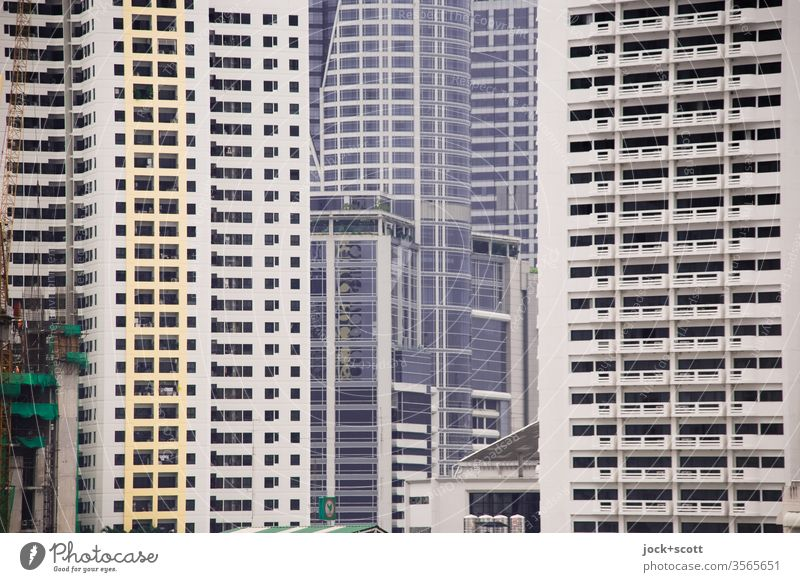 World of facades in the big city Bangkok Thailand Architecture Downtown High-rise Capital city Office building Facade Sharp-edged great Modern Style