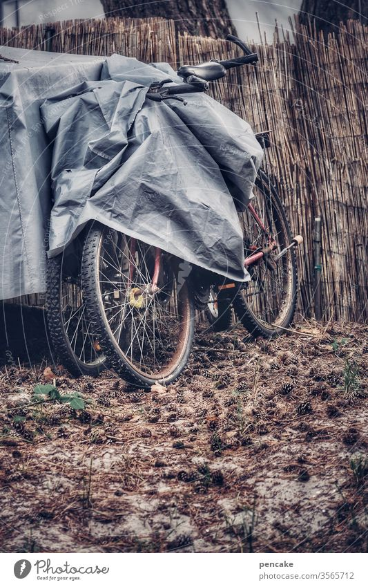 trapped in plastic   safekeeping Bicycle Covers (Construction) tarpaulin out Winter thatched fence Gray Dreary turned off Protection wintering grounds