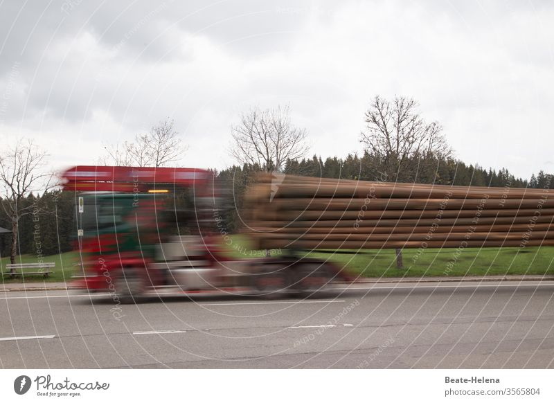 Racy: timber transporter drives its load to its destination at high speed Transporter wood Exterior shot Street Speed swift fast and furious Blur Movement