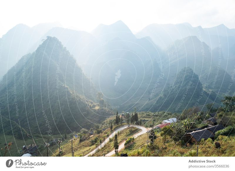 Amazing scenery of serpentine road in mountains amazing fog winding highland morning summer vietnam asia spectacular picturesque majestic magnificent landscape