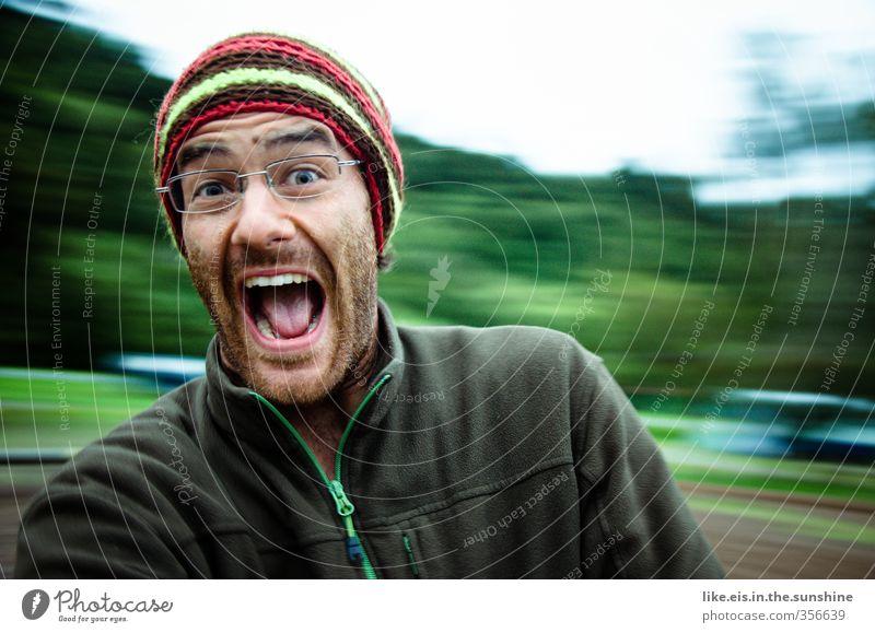 uuuuaaaaaaaaaaaa! Masculine Young man Youth (Young adults) Man Adults Life 1 Human being 18 - 30 years Eyeglasses Relaxation To swing Playing Romp Green Joy