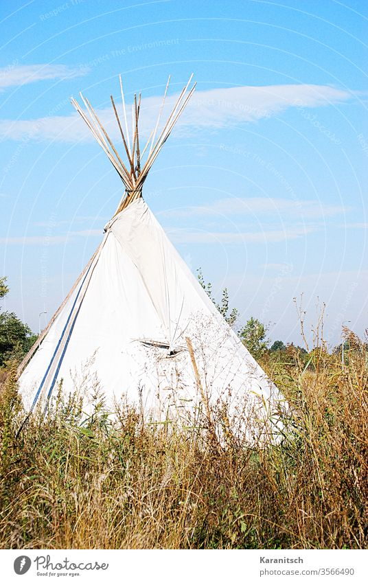 A tepee in the high grass against a blue sky. Tee Pee Tent Indian tent tent poles Tarpaulin White Built Meadow Grass Summer Dry Brown Sky Blue Clouds romantic