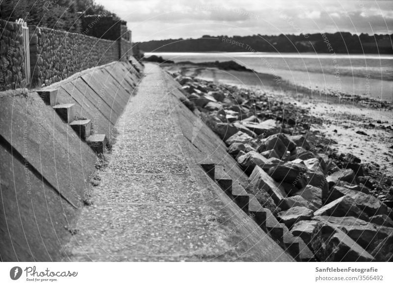 Stairs on the bank stairs beach Black & white photo stairway beach walk Vacation & Travel Ocean Exterior shot Water beach chair Concrete Brittany contrast