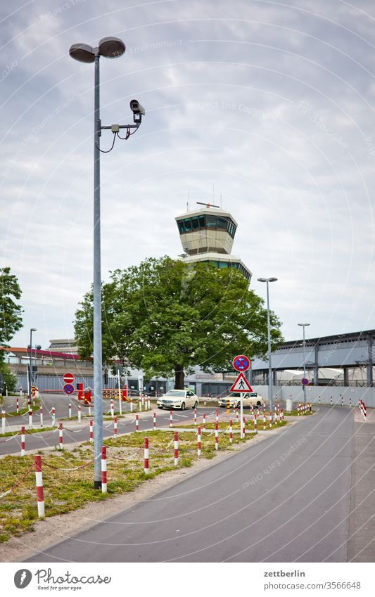 TXL Tower Berlin Far-off places Trajectory Airport Airfield spring Sky Horizon Deserted taxiway Skyline Summer Tegel Copy Space hazy wide Clouds Parking lot