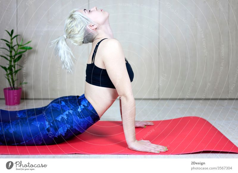 Young sporty woman stretching back on mat indoors person female girl lifestyle fitness training yoga body adult beautiful workout exercise attractive athlete