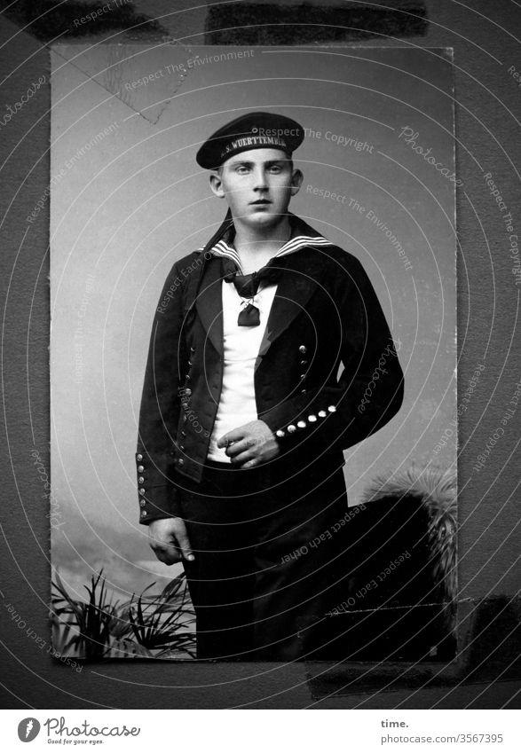 for family album Man Sailor portrait photo studio posing Uniform Jacket cap garments uniforms then Former Old Nostalgia Military Buttons seafaring workwear