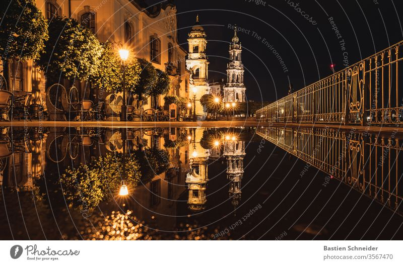 In the evening after a heavy rain shower on the Brühlsche Terrasse in Dresden Colour photo Hofkirche Dome Twilight Old town Church Evening Sightseeing Skyline