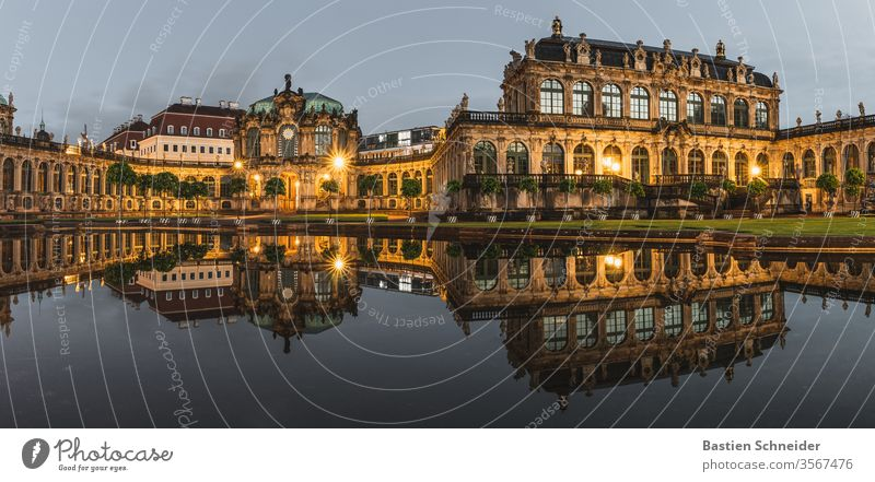 Dresdner Zwinger at the blue hour Dresden Architecture Historic Saxony Old town Town Ancient Baroque Classical Capital city Vacation & Travel Culture great