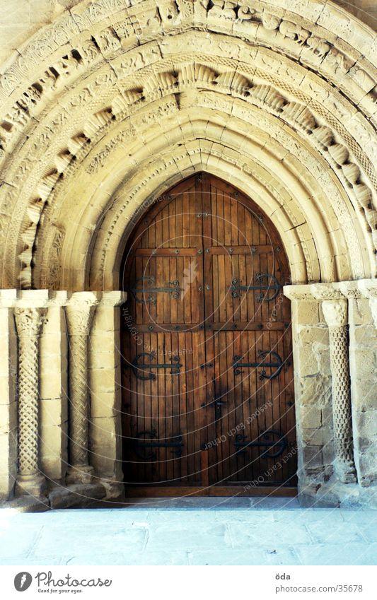The door to the light Church door Wood Ornate Adornment Doorframe Historic Gate Old Stone door frame Way of St James