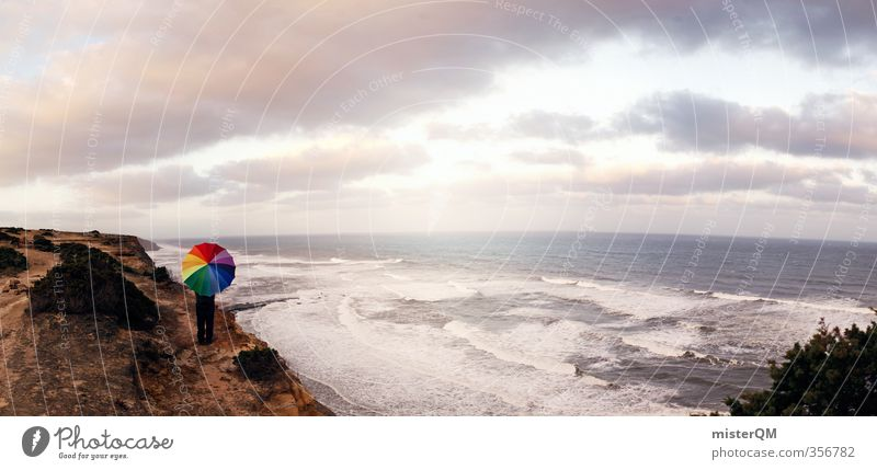 Ocean Far-off places Travel photography Freedom Coast Exceptional Art Esthetic Uniqueness Creativity Idea Umbrella Panorama (Format) Wanderlust Fashioned