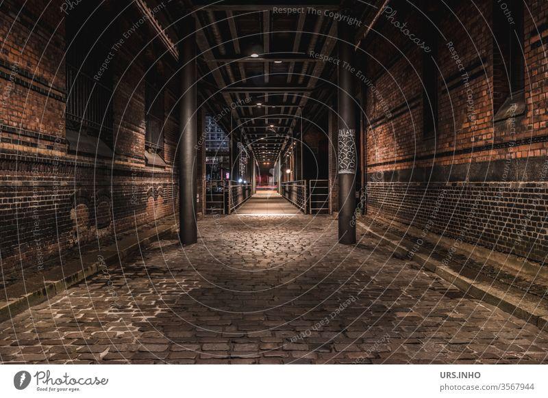 Walk through a dark cobbled alley | night light between brick houses Alley Passage Cobblestones off Brick Old town Deserted Street pedestrian walkway