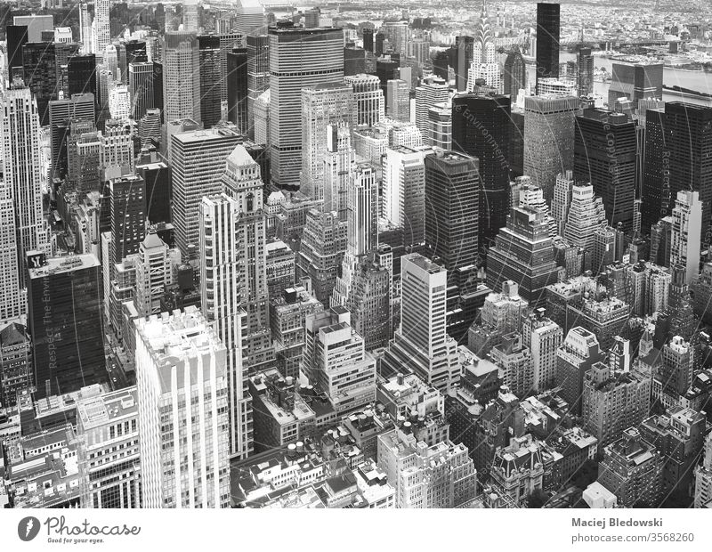 Black and white aerial view of Manhattan, New York. city NYC travel cityscape black and white office apartment architecture building America urban USA day