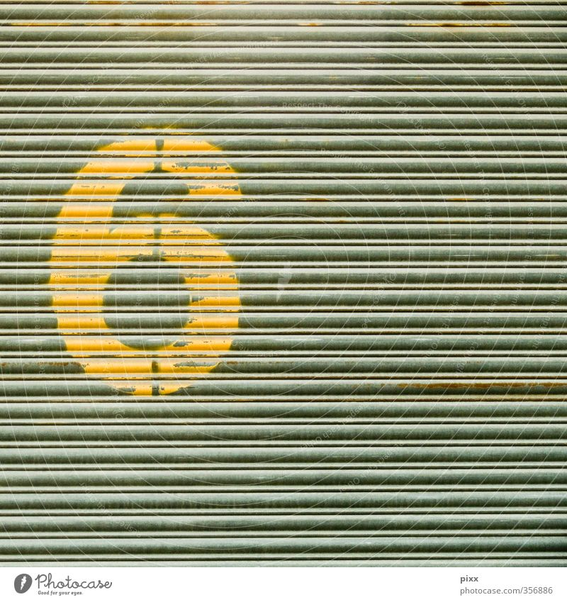 simple 6 House (Residential Structure) Painter Industry Metal Sign Digits and numbers Signs and labeling Dirty Yellow Gray Gate Round stencil Typography