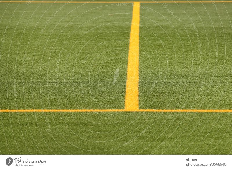 Partial view of a green football turf with yellow lines Lawn Line Yellow demarcation Playing field Geometry division Football pitch Sporting grounds Ball sports