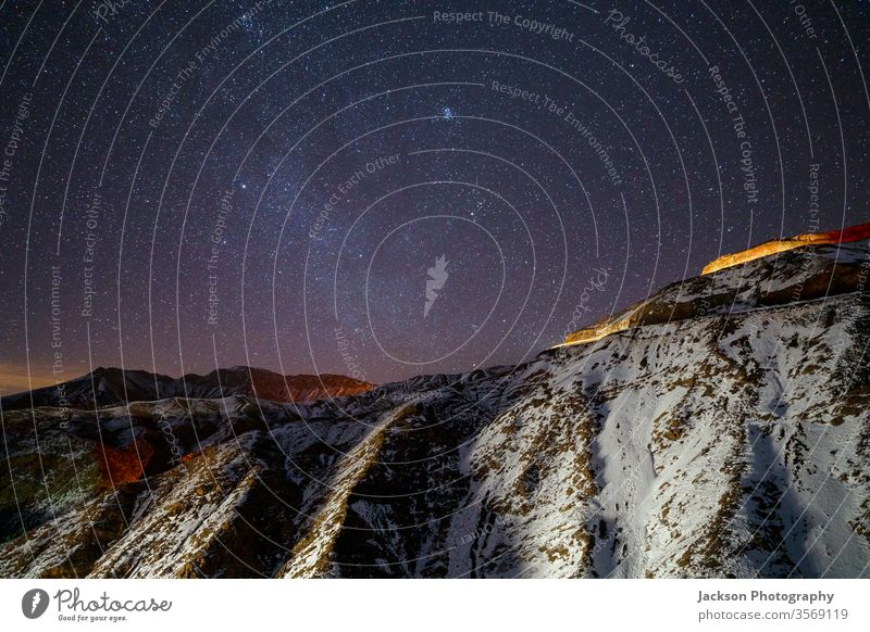 Amazing night sky in High Atlas mountains, Morocco atlas morocco high atlas yellow road milky way winter snow long exposure scenery astrophotography glowing