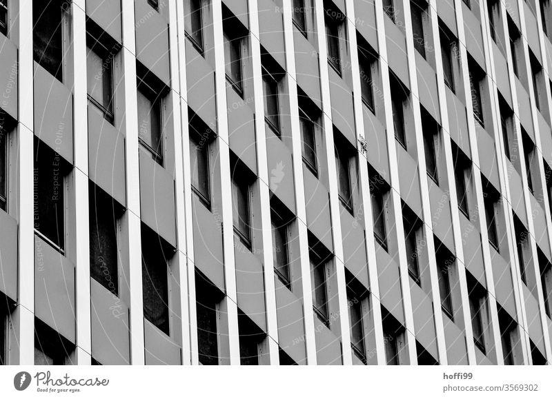 monotonous outer facade of a high-rise building monotony High-rise High-rise facade Facade Window Loneliness Town Hideous Architecture Line Modern Complex built