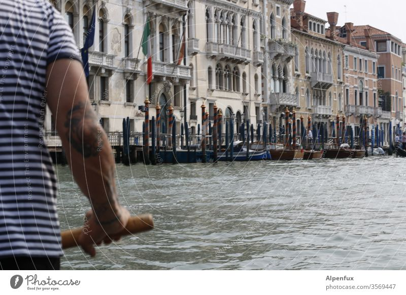 O sole mio | literally Gondolier Venice Italy Exterior shot Water Watercraft Tourism Town Colour photo Channel Gondola (Boat) Port City Day Vacation & Travel