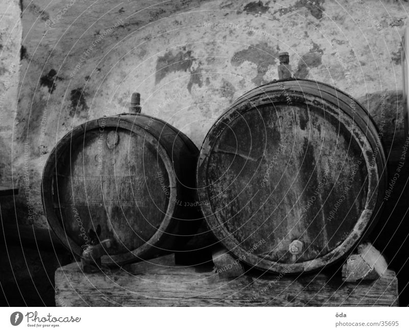 barrels Keg Cellar Wall (barrier) Masonry Wood Obscure Black & white photo Wine Storage Wine cask Wine cellar Old 2 Deserted Round