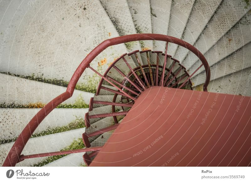 Fire escape of a parking garage. Winding staircase Stairs Staircase (Hallway) stagger Stone Sandstone castle Lock Fortress Architecture Rope rope Spiral Coil