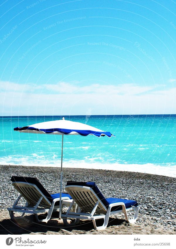 Côt d'Azur Ocean France Sunshade Vacation & Travel Sunbathing Azure blue Beach Water Lie