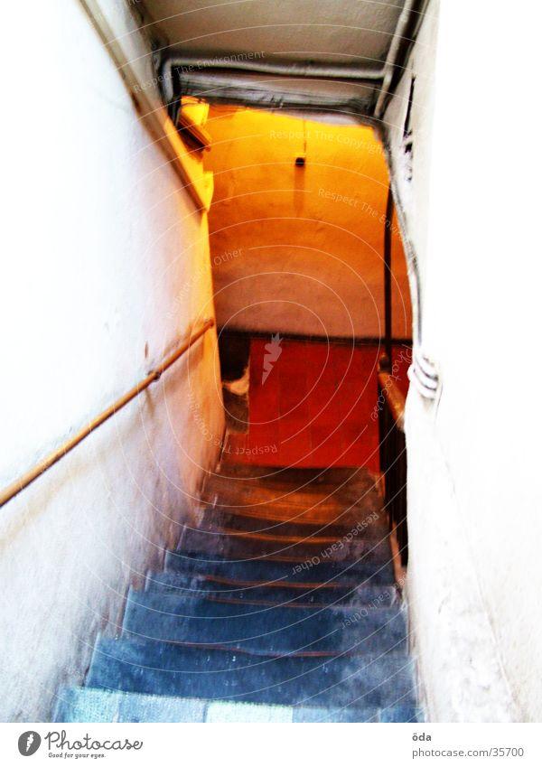Old Red Colour Lighting Orange Stairs Historic Ladder Masonry